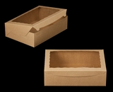 "2101 - 14"" x 10"" x 4"" Brown/Brown Lock & Tab Quarter Sheet Cake Box with Window"
