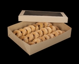 "2104x2102 - 19"" x 14"" x 4"" Brown/Brown Lock & Tab Donut Box Set with Window, 50 COUNT"