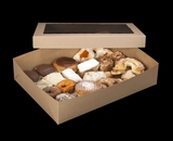 "2104x2102 - 19"" x 14"" x 4"" Brown/Brown Lock & Tab Pastry Box Set with Window, 50 COUNT"
