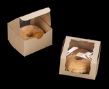 "2105 - 4"" x 4"" x 2 1/2"" Brown/Brown Lock & Tab Individual Donut Box with Wraparound Window"