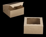 "2106 - 8"" x 8"" x 4"" Brown/Brown with Window, Lock & Tab Box With Lid. A17"