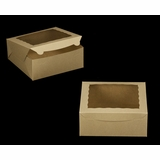 "2107 - 10"" x 10"" x 4"" Brown/Brown with Window, Lock & Tab Box With Lid"