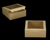"2107 - 10"" x 10"" x 4"" Brown/Brown with Window, Lock & Tab Box With Lid. A23"