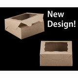 """2108 - 6"""" x 6"""" x 2 1/2"""" Brown/Brown with Window, Lock & Tab Box With Lid"""
