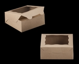 "2108 - 6"" x 6"" x 2 1/2"" Brown/Brown with Window, Lock & Tab Box With Lid. A08"