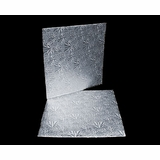 211 - 10 inch Cake Board, Square Silver Foil Single Wall Corrugated