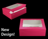 """2118 - 12"""" x 9"""" x 4"""" Pink/White with Window, Lock & Tab Box With Lid. A28"""