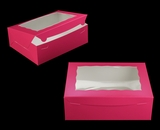 "2118 - 12"" x 9"" x 4"" Pink/White with Window, Lock & Tab Box With Lid. A28"