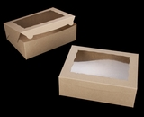 "2119 - 12"" x 9"" x 4"" Brown/Brown with Window, Lock & Tab Box With Lid. A25"