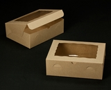 """2119 - 12"""" x 9"""" x 4"""" Brown/Brown with Window, Lock & Tab Box With Lid. A25"""
