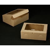 "2119 - 12"" x 9"" x 4"" Brown/Brown with Window, Lock & Tab Box With Lid"