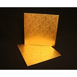 214 - 12 inch Cake Board, Square Gold Foil Single Wall Corrugated