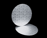 217 - 14 inch Cake Round, Silver Foil Single Wall Corrugated. C09