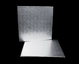 219 - 14 inch Cake Board, Square Silver Foil Single Wall Corrugated