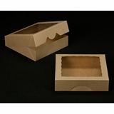 "2242 - 10"" x 10"" x 2 1/2"" Brown/Brown with Window, Timesaver Box With Lid"