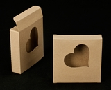 "2251 - 4 3/8"" x 4 3/8"" x 1"" Brown/Brown with Heart Window  Reverse Tuck Box. B03"