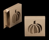 "2258 - 4 3/8"" x 4 3/8"" x 1"" Brown/Brown with Pumpkin Window Reverse Tuck Box. B03"