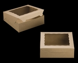 "2271 - 9"" x 9"" x 3"" Brown/Brown with Window, Lock & Tab Box With Lid"