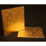 228 - 9 inch Cake Board, Square Gold Foil Single Wall Corrugated