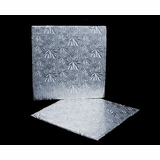 229 - 9 inch Cake Board, Square Silver Foil Single Wall Corrugated
