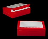"2294 - 14"" x 10"" x 4"" Red/White Lock & Tab Quarter Sheet Cake Box with Window"