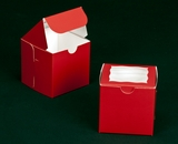"2296 - 4"" x 4"" x 4"" Red/White with Window, One Piece Lock & Tab Box With Lid. B09"