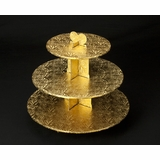 231 - Gold Cupcake Stand, 3 Tier Double Wall Corrugated
