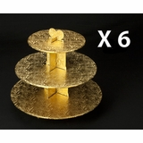 231q6 - Gold Cupcake Stands, 3 Tier Double Wall Corrugated