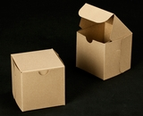 "2366 - 4"" x 4"" x 4"" Brown/Brown without Window, Lock & Tab Box With Lid. B08"