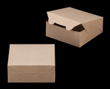 "2367 - 6"" x 6"" x 2 1/2"" Brown/Brown without Window, Lock & Tab Box With Lid. A08"