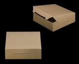 "2373 - 9"" x 9"" x 3"" Brown/Brown without Window, Lock & Tab Box With Lid. A20"