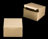"2381 - 10"" x 10"" x 6"" Brown/Brown without Window, Lock & Tab Box With Lid. A34"