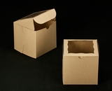 "2387 - 6"" x 6"" x 6"" Brown/Brown with Window, Lock & Tab Box With Lid. A21"