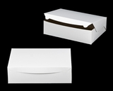 "239 - 14"" x 10"" x 4""  White/Brown without Window, Lock & Tab Box With Lid. A20xA20"