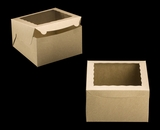 "2391 - 10"" x 10"" x 6"" Brown/Brown with Window, Lock & Tab Box With Lid. A31"