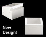 """2392 - 10"""" x 10"""" x 6"""" White/White with Window, Lock & Tab Box With Lid"""