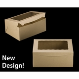 "2393 - 14"" x 10"" x 6"" Brown/Brown with Window, Lock & Tab Box With Lid, 50 COUNT"
