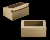 "2393 - 14"" x 10"" x 6"" Brown/Brown Lock & Tab Quarter Sheet Cake Box with Window, 50 COUNT"