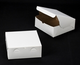"241 - 10"" x 10"" x 4"" White/Brown Lock & Tab Box, without Window. A31"