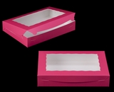 "2421 - 14"" x 10"" x 2 1/2"" Pink/White with Window, Lock & Tab Box With Lid. A25"