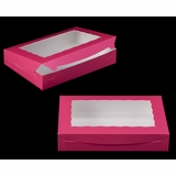 "2421 - 14"" x 10"" x 2 1/2"" Pink/White with Window, Lock & Tab Box With Lid"