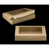 "2422 - 14"" x 10"" x 2 1/2"" Brown/Brown with Window, Lock & Tab Box With Lid"