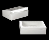 "244 - 14"" x 10"" x 4"" White/White Lock & Tab Quarter Sheet Cake Box with Window"