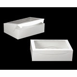 "244 - 14"" x 10"" x 4"" White/White with Window, Lock & Tab Box With Lid"