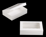 "2440 - 10"" x 7"" x 2 1/2"" White/White with Window, Lock & Tab Box with Lid. A16"