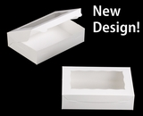 "2440 - 10"" x 7"" x 2 1/2"" White/White with Window, Lock & Tab Box with Lid. A14"