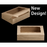 """2441 - 10"""" x 7"""" x 2 1/2"""" Brown/Brown with Window, Lock & Tab Box with Lid"""