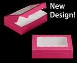 "2442 - 10"" x 7"" x 2 1/2"" Pink/White with Window, Lock & Tab Box with Lid. A15"