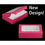 """2442 - 10"""" x 7"""" x 2 1/2"""" Pink/White with Window, Lock & Tab Box with Lid"""