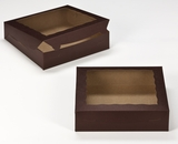 "2445 - 10"" x 10"" x 2 1/2"" Chocolate/Brown with Window, Lock & Tab Box With Lid. A19"